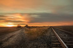 A V in the road formed with a train track on the SK prairie at sunset. Fine Art Prints, Canvas Prints, Train Tracks, Railroad Tracks, Lens, Sunset, World, Frame, Sunsets