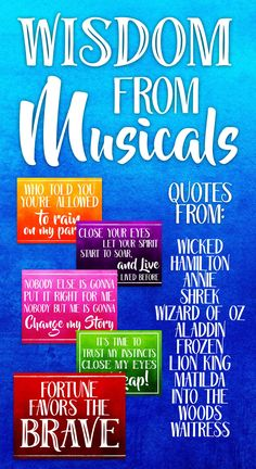 "This ""Print and Post"" bulletin board pack highlights inspiration, motivational, and wise quotes from 30 different musicals! Whether you are a devote fan of Wicked, Waitress, or Wizard of Oz you'll find the right quote to inspire and delight."