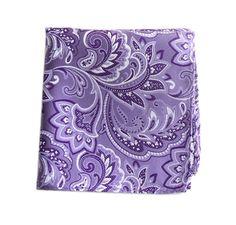 Lavender purple paisley pocket square