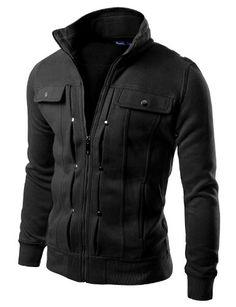 14f5a4e21 Doublju Mens Highneck Zip Up Jacket at Amazon Men s Clothing store  Cotton  Lightweight Jackets