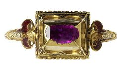 Enamelled gold ring, oblong box bezel set with a table-cut pink sapphire, with shaped shoulders, Western Europe, Museum Number Renaissance Jewelry, Medieval Jewelry, Ancient Jewelry, Old Jewelry, Gems Jewelry, Antique Jewelry, Jewelery, Vintage Jewelry, Fine Jewelry