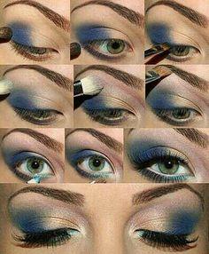 El tono azul en las sombras es recomendado para los ojos azules y por supuesto para ojos cafes