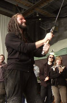 They gave him this sword, didn't they, at the end of filming? They gave Martin Freeman Bilbo's dressing gown.