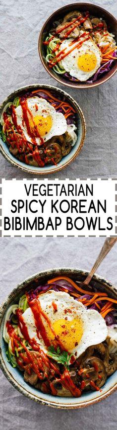 Vegetarian Spicy Korean Bibimbap Bowls! YUM!