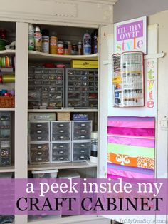 I adore the full craft rooms, but this is more realistic for my home and crafting, sewing, & decorating supplies. FUN!!  Easy to do. Craft Room Organizing Ideas { InMyOwnStyle.com}  #Craftroom  #organizing