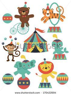 cute circus animals collection. vector illustration - stock vector