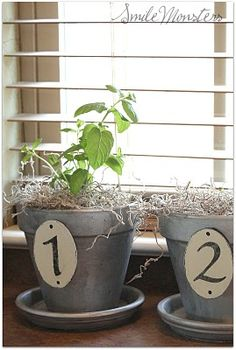 """galvanized"" numbered planters - I want to make these! via @smilemonsters"