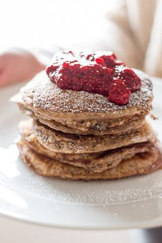 Oat Pancakes with Raspberry Chia Jam - Powered by @ultimaterecipe