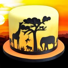 Silhouette Cake, Elephant Silhouette, Silhouette Cutter, Chocolate Transfer Sheets, Lace Stencil, Landscape Silhouette, Lion King Party, African Sunset, Dragon Cakes
