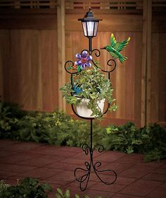 Delicieux HUMMINGBIRD Solar Power Lighted Outdoor Plant Flower Stand Deck Patio Porch  New