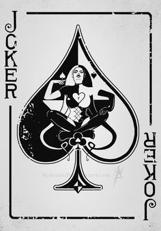 This is a female Joker playing card concept I�ve been working on experimenting with shape and negative space. Description from deviantart.com. I searched for this on bing.com/images