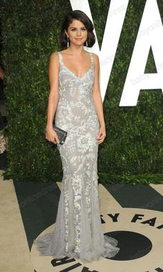 - Sexy Selena Gomez Vanity Fair Flawless Silver summer Evening Dress with Lace & Mermaid Celebrity dresses EWL219