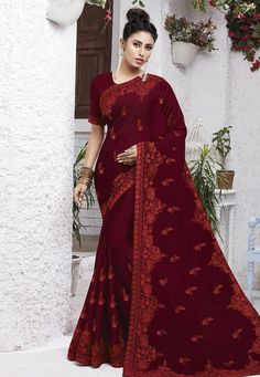 Buy Maroon Chiffon Festival Wear Saree 204565 with blouse online at lowest price from vast collection of sarees at Indianclothstore.com.