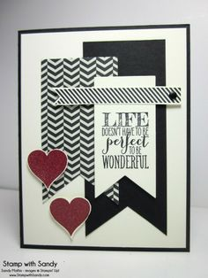 Wonderful Valentine - Sandy Mathis, Stamp Sets: Perfect Pennants Card Stock: Very Vanilla, Basic Black Designer Series Paper: Modern Medley Ink Pads: Black Stazon, Versamark Tools: Big Shot, Banner Framelits, Heat Tool Accessories: Cherry Cobbler Embossing Powder, Neutrals Candy Dots