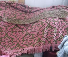 Vintage Pink & Green Chenille Bedspread With pink Dangle Fringe 103 X 91 Inches