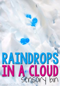 Planning a preschool weather theme unit? This awesome sensory bin is the perfect way to learn all about clouds and rain while exploring fun new textures!