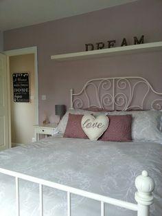 Grey and purple bedroom.