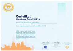 "Certyfikat ""Mieszkanie Roku 2014/15""."