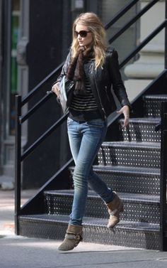 Rosie Huntington-Whiteley + Isabel Marant Keni Leather Jacket and Bardu / Dana Boots