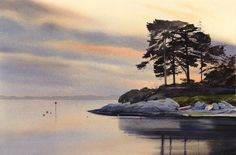 November light at Borth y Gest, an original watercolour painting by Rob Piercy