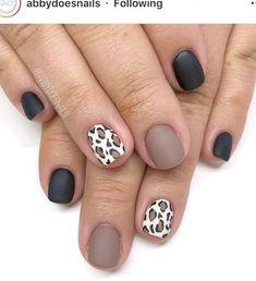 Tan Nails, Leopard Print Nails, Black Shellac Nails, Brown Nails, Cute Acrylic Nails, Cute Nails, Pretty Nails, Cheetah Nail Designs, Black Nails