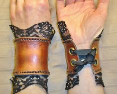 how to make leather cuffs   Steampunk Leather Wrist Cuffs by Nonconformity on Etsy