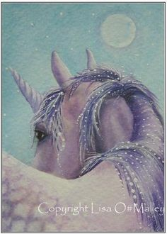 Aceo Print A Dream in Amethyst Unicorn by Eveningstardust on Etsy