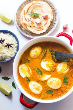 Think Indian food is difficult? Try this south indian style egg curry, inspired by Kerala cuisine and made with coconut milk. Easy, comforting and creamy egg curry recipe which is perfect with a bowl of rice or kerala parathas! Gluten free, Paleo and Whole 30.