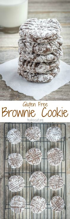 Mixed in one bowl, gluten free brownie cookies that taste like the real deal! | teabiscuit.org
