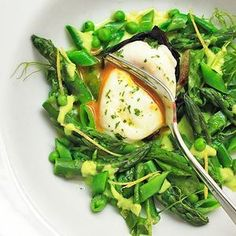 Spring Salad of Asparagus, Ramps, Snap Peas, and Peas, with Poached Egg and Lemon Zest Vinaigrette from Serious Eats - Found at www.edamam.com!