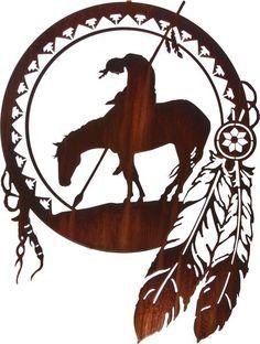 Warrior on Horseback Dream Catcher Metal Wall Art Sculpture Wood Burning Patterns, Wood Burning Art, Native Art, Native American Art, Elefante Tribal, Metal Tree Wall Art, Metal Artwork, Tree Artwork, Scroll Saw Patterns