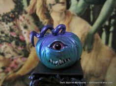 Spooky Eye Pumpkin ooak dollhouse miniature in by DarkSquirrel