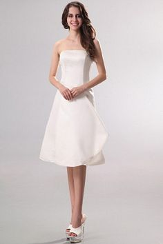 Strapless Classic White Bridesmaids Dress - Order Link: http://www.theweddingdresses.com/strapless-classic-white-bridesmaids-dress-twdn2793.html - Embellishments: Pleating; Length: Knee Length; Fabric: Satin; Waist: Natural - Price: 90.5USD