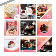 Social media posts of sweet food. Cupcake Template, Cake Templates, Social Media Poster, Social Media Branding, Bakery Website, Instagram Cake, Baby First Foods, Food Banner, Cupcake Cakes