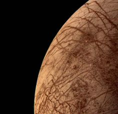 "Jupiter's moon Europa during Voyager 2 close approach (1979-07-09). It was quite a surprise at the time to find that Europa has a crust of ice. The complex array of streaks indicate that the crust has been fractured and filled by materials from the interior. Europa has very few impact craters. Mona Evans, ""Voyager 2 - the Grand Tour"" http://www.bellaonline.com/articles/art182793.asp"