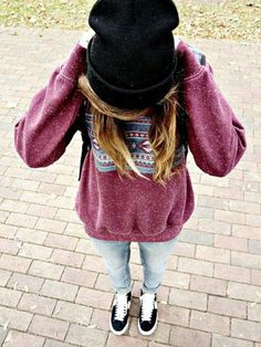 jeans black sneakers red sweater black beanie hat