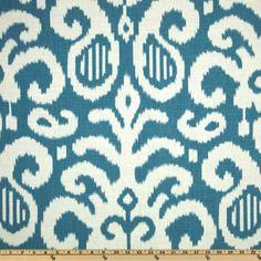 Suburban Fergana Ikat Aqua - Discount Designer Fabric - Fabric.com