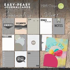 The individual layered Journalcards are great for your digital layouts and project life spreads.   #digiscrap #scrapbooking #mixedmedia #artjournaling #cardmaking #hybridscrap #scrapbookingideas #nbk_design #the_lilypad #artsy #photobook #fotobuch #projectlife #projectlifeapp #projectlife52 #documentyourlife #journalcards #templates #fillercards #cards #pocketpages Scrapbook Supplies, Journal Cards, Easy Peasy, Project Life, Photo Book, Digital Scrapbooking, Card Making, Artsy, Lily