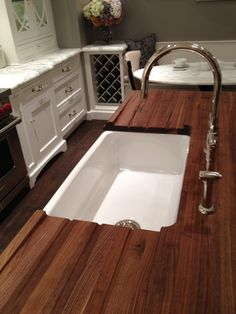 Natural Wooden Butcher Block Countertops For Your Kitchen Decor Ideas:  Contemporary Brown Wooden Butcher Block Countertops Design With White  Washbasin And ...