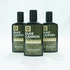 $13.00 Each  DUKE CANNON HAS LITTLE PATIENCE FOR SKINNY JEANS, VEGGIE BURGERS, OR PRODUCTS OF INFERIOR QUALITY. HIS NEW HARD-WORKING CLEAN 2-IN-1 HAIR WASH HAS BEEN ENGINEERED WITH ONLY SUPERIOR GRADE INGREDIENTS:  - PROTEIN FOR STRENGTH - VITAMIN E FOR ANTIOXIDANT PROTECTION - VITAMIN B5 FOR CONDITIONING - NO HARSH SULFATES OR PARABENS