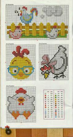 Artesanato em crochê e ponto cruz: Gráfico de galinhas em ponto cruz