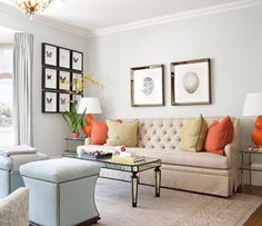 I love the little bit of coral color added to this room. It really pops.