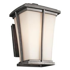 """Brockton Outdoor Wall Lantern in Anvil Iron Size / Bulb Type: 15.8"""" H x 11"""" W x 11.4"""" D / Incandescent by Kichler. $280.00. 49217AVI Size / Bulb Type: 15.8"""" H x 11"""" W x 11.4"""" D / Incandescent Features: -One light outdoor wall lantern.-Available in satin etched opal or etched umber seedy glass.-Fluorescent bulb comes with photocell switching.-UL CSA listed.-Eco friendly. Includes: -9'' Wall lantern accommodates (1) 75W A19 incandescent bulb or (1) 13W PBCFS1350 fluore..."""