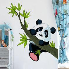 Wandtattoo Kletternder Panda Wandtatoo Wandsticker Kinderzimmer Bär Illustration, Größe: 60cm x 69cm