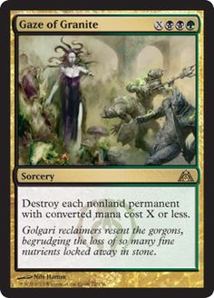 """Read about Gaze of Granite from """"Dragon's Maze"""" http://www.examiner.com/article/gaze-of-granite-from-dragon-s-maze-a-powerful-golgari-sweeper #MTG #MTGDGM #Magic #MagicTheGathering #Games #CardGames #VideoGames #Geek #Fantasy #Article #ExaminerCom"""