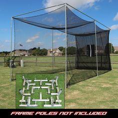 "Golf Net with Frame Corners 20x10x10 1"" Steel DIY Practice Golpher System #Cimarron"