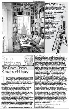 The Room Planner, Paula Robinson Rossouw's column in the Sunday Telegraph: Create a mini library www.paularobinsonrossouw.com