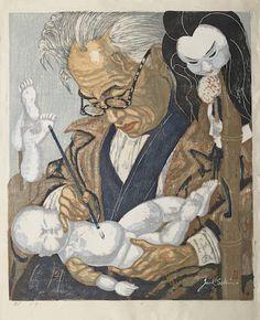 Junichiro Sekino (1914-1988) Two oversize woodblock prints (sosaku hanga)