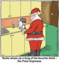 #Santa's drink of choice! | Read Chuckle Bros #comics @ www.gocomics.com/chucklebros/2014/12/23?utm_source=pinterest&utm_medium=socialmarketing&utm_campaign=social-pin | #GoComics #webcomic #holidays #coffee