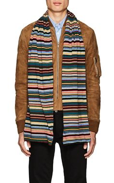 2828030cc523 Paul Smith Striped Wool-Blend Scarf - Brown 1 Sz Stockinette, Paul Smith,